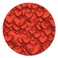 Shimmering Hearts Deep Red Magnet 5  (round) by MoreColorsinLife