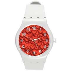 Shimmering Hearts Deep Red Round Plastic Sport Watch (m) by MoreColorsinLife