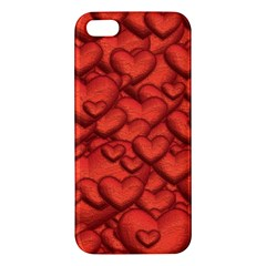 Shimmering Hearts Deep Red Apple Iphone 5 Premium Hardshell Case by MoreColorsinLife