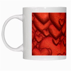 Shimmering Hearts Deep Red White Mugs by MoreColorsinLife