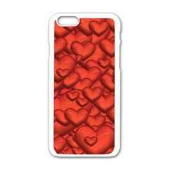 Shimmering Hearts Deep Red Apple Iphone 6/6s White Enamel Case by MoreColorsinLife