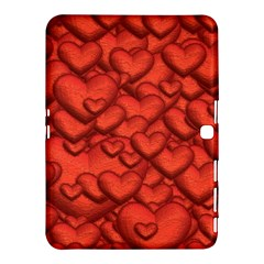 Shimmering Hearts Deep Red Samsung Galaxy Tab 4 (10 1 ) Hardshell Case  by MoreColorsinLife