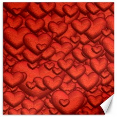 Shimmering Hearts Deep Red Canvas 16  X 16   by MoreColorsinLife