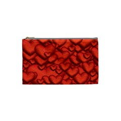 Shimmering Hearts Deep Red Cosmetic Bag (small)  by MoreColorsinLife