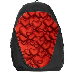 Shimmering Hearts Deep Red Backpack Bag by MoreColorsinLife