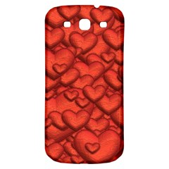 Shimmering Hearts Deep Red Samsung Galaxy S3 S Iii Classic Hardshell Back Case by MoreColorsinLife