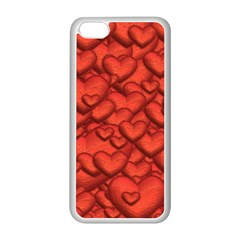 Shimmering Hearts Deep Red Apple Iphone 5c Seamless Case (white) by MoreColorsinLife