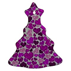 Sparkling Hearts Purple Christmas Tree Ornament (two Sides) by MoreColorsinLife
