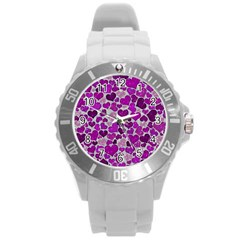 Sparkling Hearts Purple Round Plastic Sport Watch (l) by MoreColorsinLife
