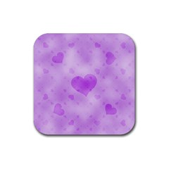Soft Hearts D Rubber Coaster (square)  by MoreColorsinLife