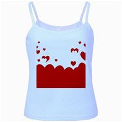 Heart Shape Background Love Baby Blue Spaghetti Tank