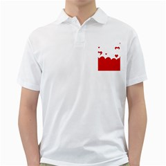 Heart Shape Background Love Golf Shirts