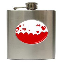 Heart Shape Background Love Hip Flask (6 Oz)