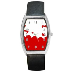 Heart Shape Background Love Barrel Style Metal Watch