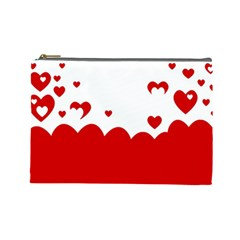 Heart Shape Background Love Cosmetic Bag (large)