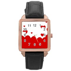 Heart Shape Background Love Rose Gold Leather Watch