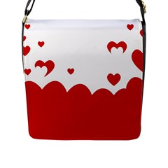 Heart Shape Background Love Flap Messenger Bag (l)  by Nexatart