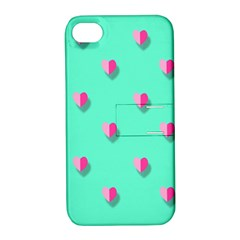 Love Heart Set Seamless Pattern Apple Iphone 4/4s Hardshell Case With Stand