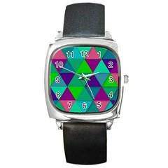 Background Geometric Triangle Square Metal Watch