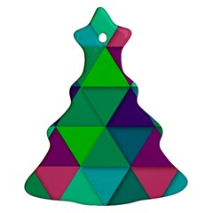 Background Geometric Triangle Christmas Tree Ornament (two Sides)