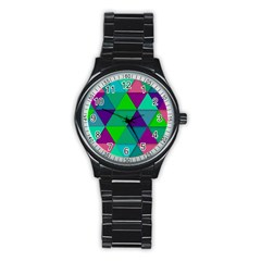 Background Geometric Triangle Stainless Steel Round Watch