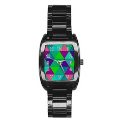 Background Geometric Triangle Stainless Steel Barrel Watch