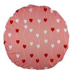 Heart Shape Background Love Large 18  Premium Round Cushions