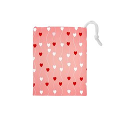 Heart Shape Background Love Drawstring Pouches (small)