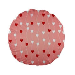 Heart Shape Background Love Standard 15  Premium Flano Round Cushions