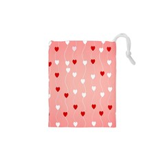Heart Shape Background Love Drawstring Pouches (xs)