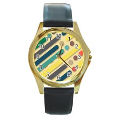 Background Vintage Desktop Color Round Gold Metal Watch