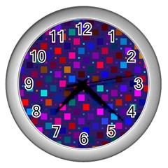 Squares Square Background Abstract Wall Clocks (silver)