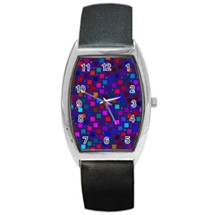 Squares Square Background Abstract Barrel Style Metal Watch