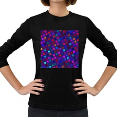 Squares Square Background Abstract Women s Long Sleeve Dark T Shirts