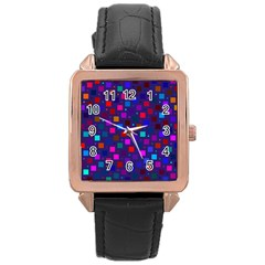 Squares Square Background Abstract Rose Gold Leather Watch