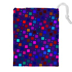 Squares Square Background Abstract Drawstring Pouches (xxl)