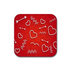 Background Valentine S Day Love Rubber Square Coaster (4 Pack)