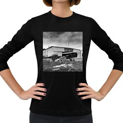 Omaha Airfield Airplain Hangar Women s Long Sleeve Dark T Shirts