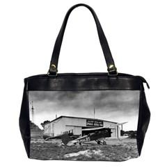 Omaha Airfield Airplain Hangar Office Handbags (2 Sides)  by Nexatart