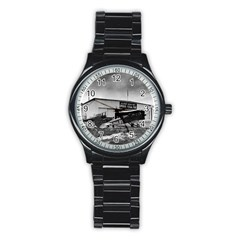 Omaha Airfield Airplain Hangar Stainless Steel Round Watch