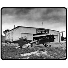 Omaha Airfield Airplain Hangar Double Sided Fleece Blanket (medium)