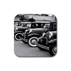 Vehicle Car Transportation Vintage Rubber Square Coaster (4 Pack)