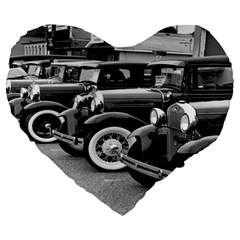 Vehicle Car Transportation Vintage Large 19  Premium Flano Heart Shape Cushions
