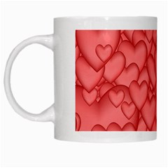Background Hearts Love White Mugs