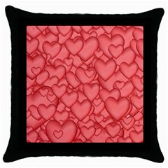 Background Hearts Love Throw Pillow Case (black)