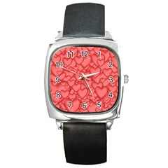 Background Hearts Love Square Metal Watch