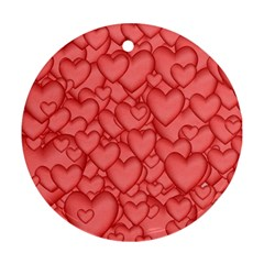 Background Hearts Love Round Ornament (two Sides) by Nexatart