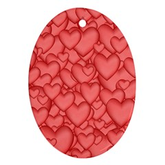 Background Hearts Love Oval Ornament (two Sides)