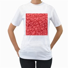 Background Hearts Love Women s T Shirt (white)