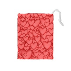 Background Hearts Love Drawstring Pouches (medium)